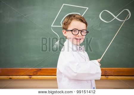 Infinite loop against cute pupil holding stick and pointing blackboard