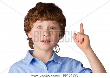 Portrait of handsome boy who just has got an idea. Isolated on white background