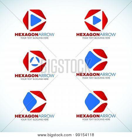 Red blue Hexagon and arrow corner logo vector design