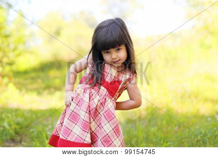 Portrait Of Little Girl Child Wearing A Dress Outdoors In Summer Day