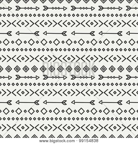 Hand drawn geometric ethnic seamless pattern. Wrapping paper. Scrapbook paper. Doodles style. Tiling