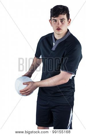 Portrait of a rugby player about to throw the rugby ball