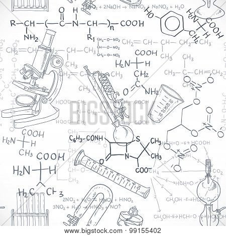 Seamless Pattern Of The Formulas On The Chemicals And Equipment Doodles Isolated On White Background