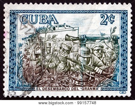 Postage Stamp Cuba 1960 Rebels Disembarking From Granma