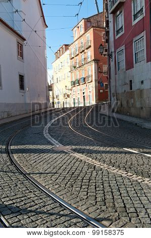 Tram Road In The City Lisbon