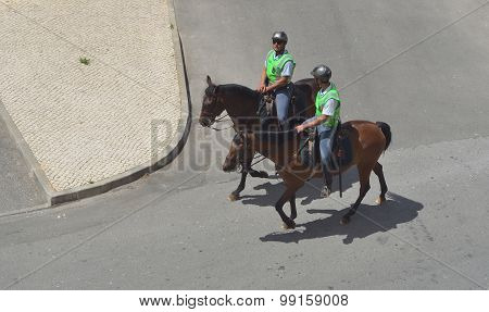 Two Portuguese policemen on horses