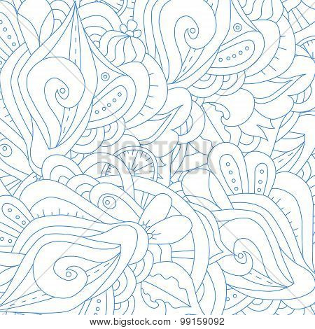 Abstract zentangle blue and white background.