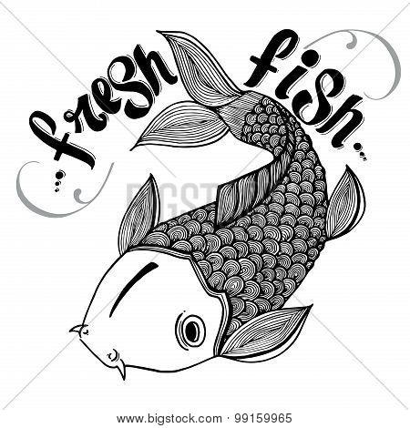 Calligraphic signs engraved illustration tattoo fresh carp salmon japan fish