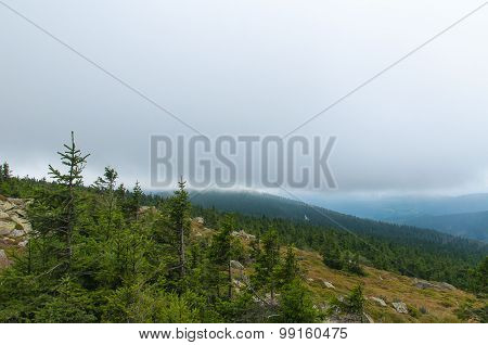 Foggy view of Brocken mountains, Germany.