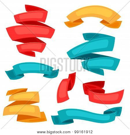 Set of decorative ribbons and banners in cartoon style