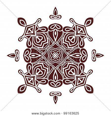 Hand Drawing Mandala Element, Silhouette In Marsala Color. Italian Majolica Style