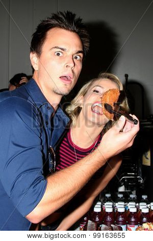 LOS ANGELES - AUG 14:  Darin Brooks, Linsey Godfrey at the Bold and Beautiful Fan Event Friday at the CBS Television City on August 14, 2015 in Los Angeles, CA