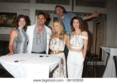LOS ANGELES - AUG 14: Heather Tom, Don DIamont, Jennifer Gareis, Scott Clifton, Jacqueline McInnes Wood at the Bold and Beautiful Fan Event at CBS Television City on August 14, 2015 in Los Angeles, CA