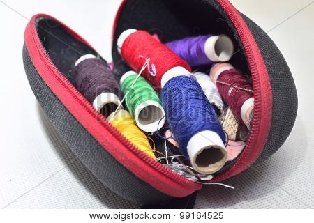 Colored Threads With Needles