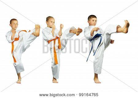 On a white background three athletes beat kick mae-geri collage