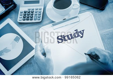 The word study and man writing on clipboard on working desk against handshake