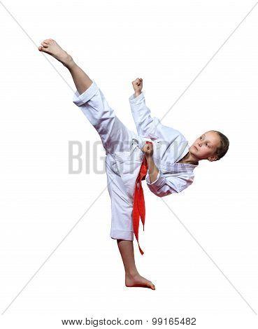 Girl on a white background beats the blow ura mavashi geri