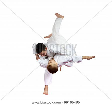 High throw judo are doing athletes  on a white background isolated