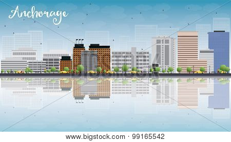 Anchorage (Alaska) Skyline with Grey Buildings, Blue Sky and reflections. Vector Illustration