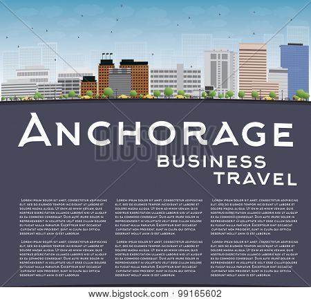 Anchorage (Alaska) Skyline with Grey Buildings, Blue Sky and copy space. Business travel concept. Vector Illustration