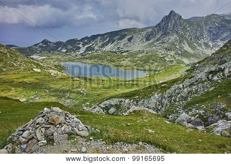 amazing panorama of The Twin lake, The Seven Rila Lakes