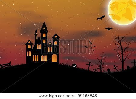 Halloween background with castle, pumkin, bats and big moon