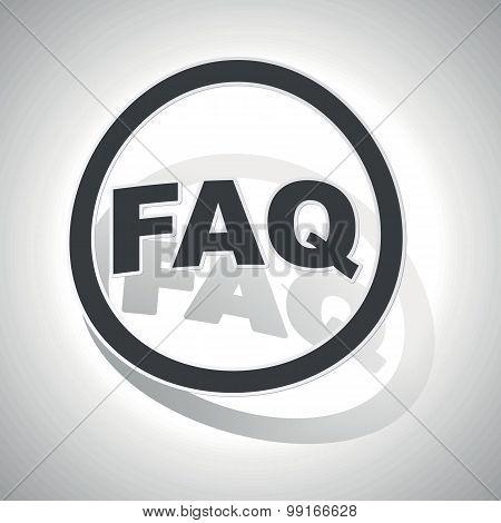 FAQ sign sticker, curved