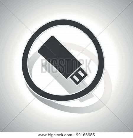 USB stick sign sticker, curved