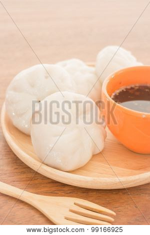Steamed Dumpling Stuff On Wooden Plate