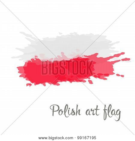 Polish flag painted by brush hand paints