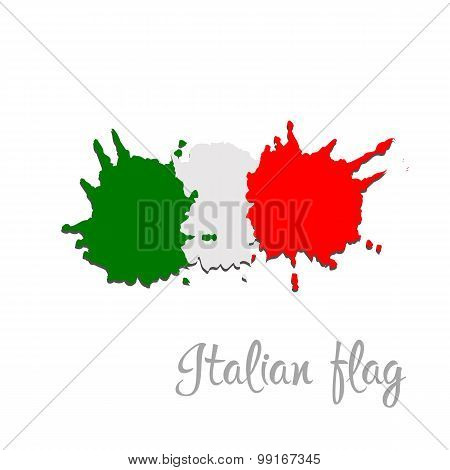Italy flag painted by brush hand paints. Art flag