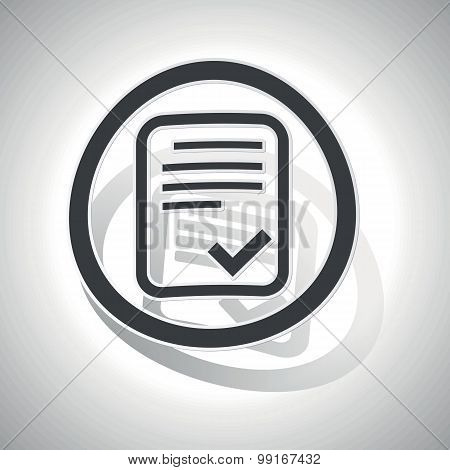 Approved document sign sticker, curved