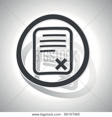 Declined document sign sticker, curved