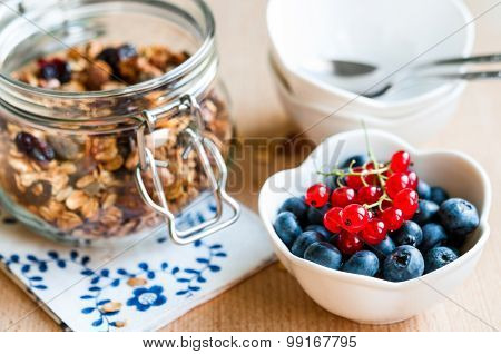 Healthy Breakfast With Granola And Fresh Fruits