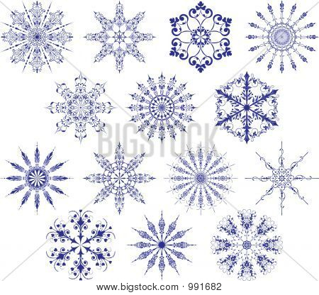Collection Of Snowflakes, Vector
