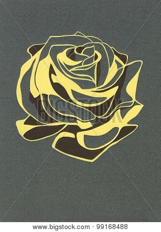 Stylized rosebud. Gouache on gray paper.