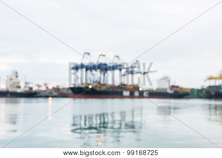 Large Harbor Cranes Loading Container Ships