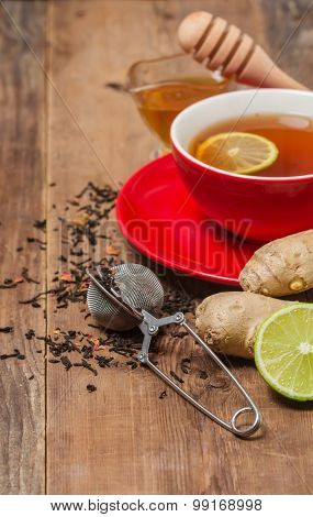 Cup Of  Tea With Ginger,    Honey And Lemon