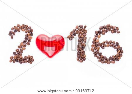 Numbers for New Year 2016 made from coffee beans and heart, isolated on white