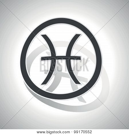 Pisces sign sticker, curved