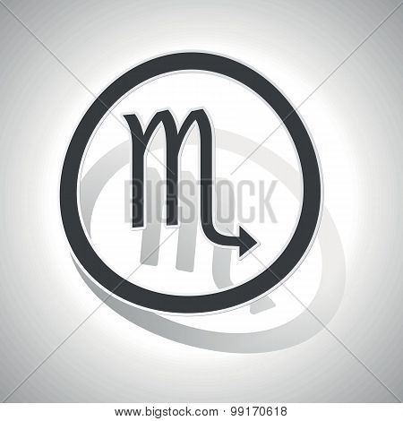 Scorpio sign sticker, curved