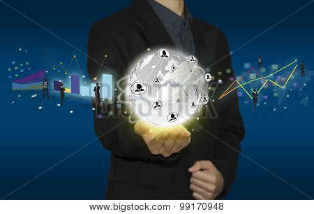 businessman hand working with modern computer and business Icon on technology.