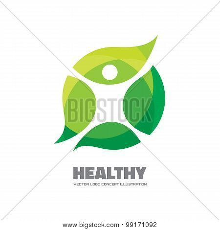 Healthy - vector logo sign concept illustration. Man figure on leafs.
