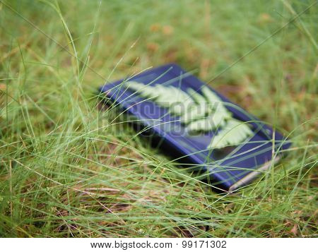 Daydream conceptualisation, out-of-focus notebook lying in grass