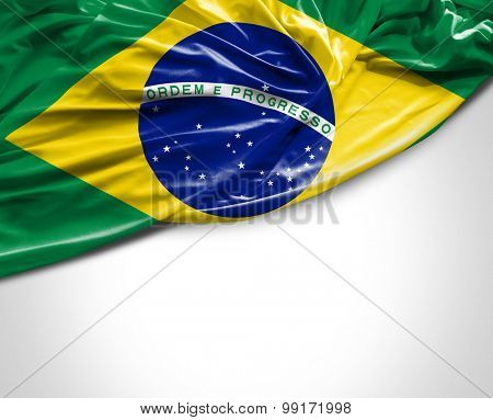 Brazilian waving flag on white background