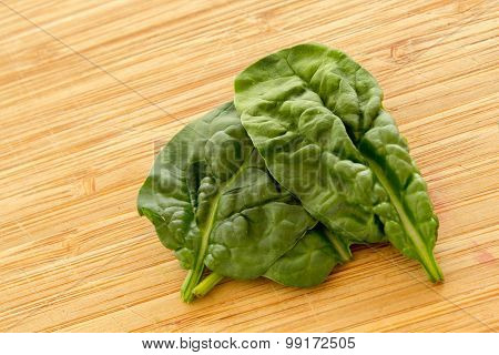 Natural raw spinach on a wooden board