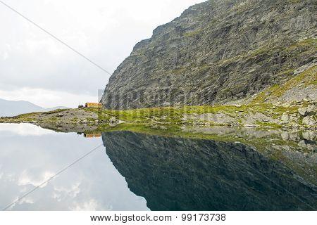 Glacier lake in Carpathian Mountains