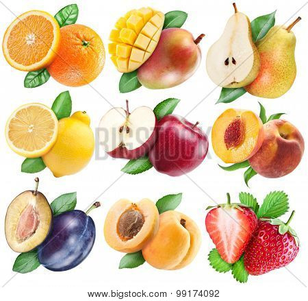 Fruits set with clipping path for each subject.