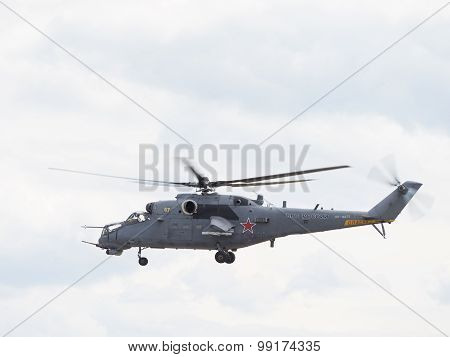 Flying Military Helicopter Mi-35