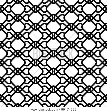 Black And White Geometric Seamless Pattern Modern Stylish With Wavy Line, Abstract Background.